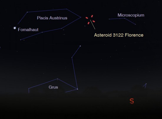Asteroid 3122 Florence on August 27 at 11:50 pm CDT as seen from central U.S. Credit:  Eddie Irizarry