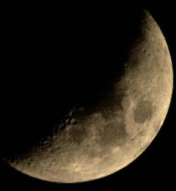 Waxing Crescent Moon with Binoculars