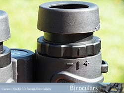 Eyecups and diopter adjustment ring on the Carson 3D 10x42 Binoculars