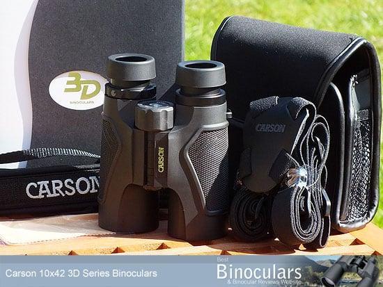 Carson 10x42 3D Series Binoculars with neck strap, case and harness