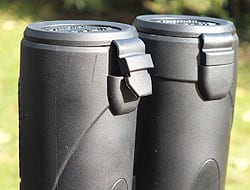 The objective lens covers on the Celestron Granite 8x42 Binoculars