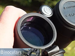 The deeply inset lenses on the Celestron Granite 8x42 Binoculars