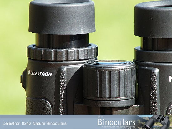 The focussing wheel on the Celestron Nature 8x42 Binoculars