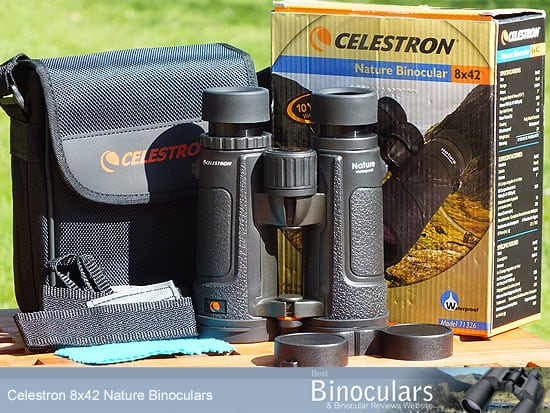 Celestron Nature 8x42 Binoculars with neck strap, carry case and lens covers