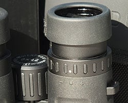 Diopter adjustment and Twist-up eyecups on the Eden Quality XP Binoculars