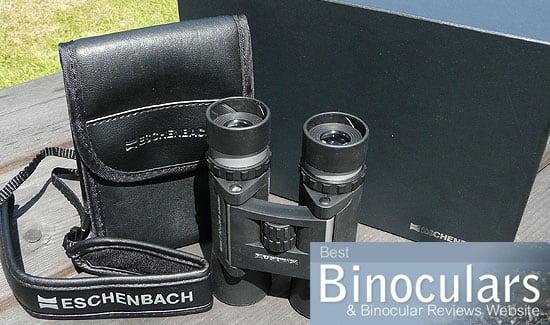 Eschenbach Farlux 10x28 B Silver Binoculars including carry case and display box