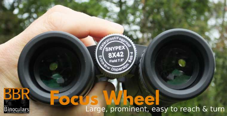 Large, easy to reach central Focus Wheel On the Snypex Knight D-ED 8x42 Binocular
