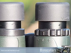 The eyecups and diopter adjustment ring on the Helios Aero-ED 8x42 Binoculars
