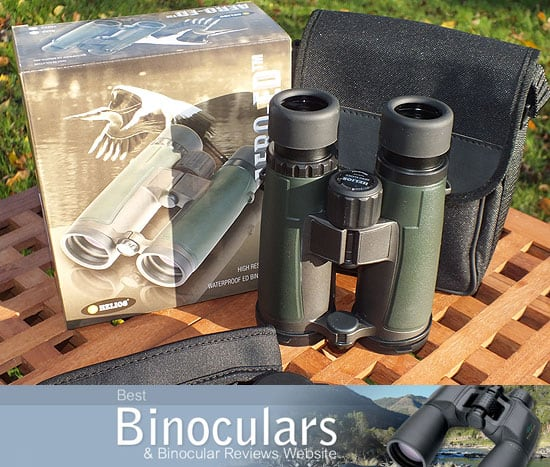Helios Aero-ED 8x42 Binoculars with neck strap and carry case