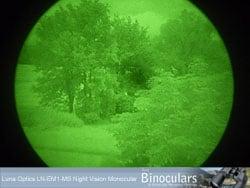 View through the Luna Optics LN-EM1-MS Night vision monocular