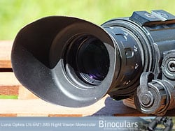 The eyecup on the Luna Optics LN-EM1-MS Night Vision Monoculars