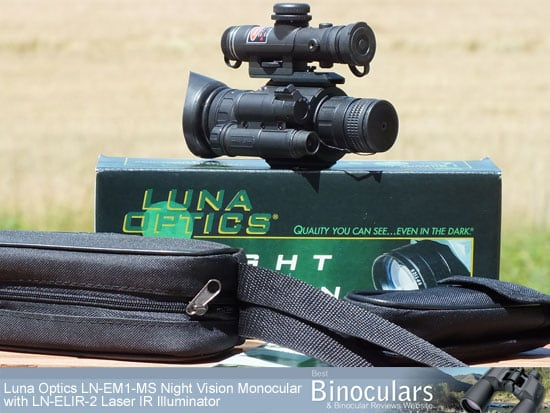 Luna Optics LN-EM1-MS Night Vision Monocular with LN-ELIR-2 Super Long Range Laser IR Illuminator attached, with carry case