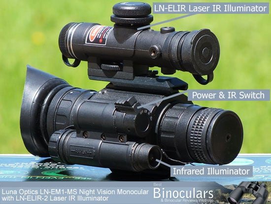 The Luna Optics LN-EM1-MS Night Vision Monocular with LN-ELIR-2 Super Long Range Laser IR Illuminator attached