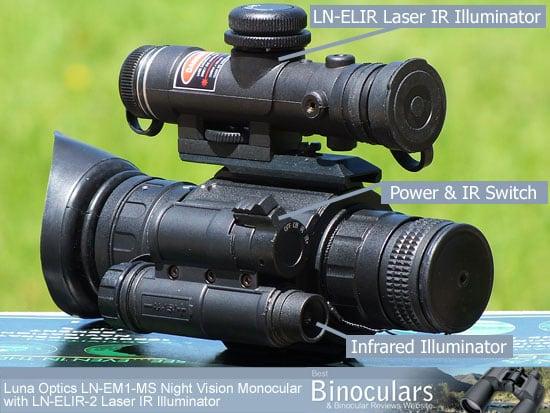 The Luna Optics LN-EM1-MS Night Vision Monocular with LN-ELIR-2 Super Long Range Laser IR Illuminator attached
