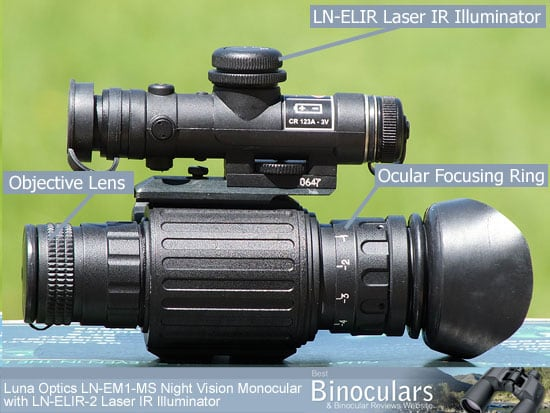 Luna Optics LN-EM1-MS Night Vision Monoculars with the LN-ELIR Laser IR Illuminator