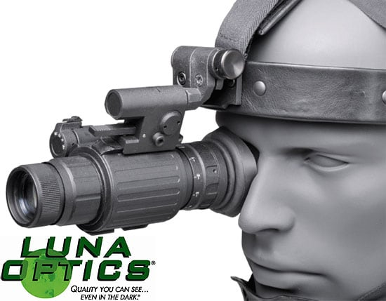 The Luna Optics LN-EM1-MS Night vision monocular attached to the Luna Optics LN-HMS Head-Mask