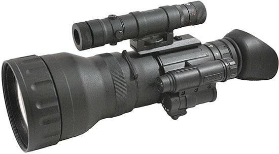 The Luna Optics LN-L100 4x Magnification Lens Attached to the LN-EM1-MS Night Vision Monocular