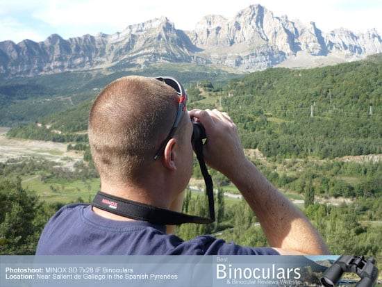 Me using the MINOX BD 7x28 IF Binoculars in the Spanish Pyrenees