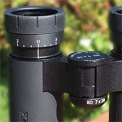The eyecups and Individual ocular setting on the MINOX BD 7x28 IF Binoculars
