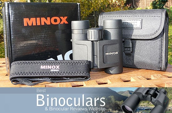 Minox BV 10x25 BRW Binoculars including carry case, neck strap and display box