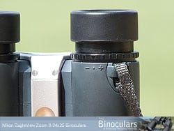 The eyecups and diopter adjustment ring on the Nikon EagleView Zoom 8-24x25 Binoculars