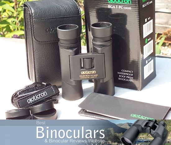 Opticron BGA T PC Oasis 10x28 binoculars with carry case and neck strap