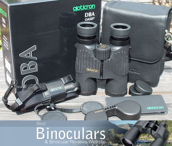Opticron DBA Oasis 8x42 S-Coat binoculars with carry bag and accessories