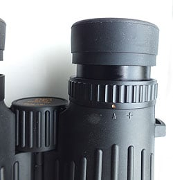 The eyecups and diopter adjustment ring on the Opticron DBA Oasis 8x42 Binoculars
