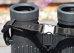 Quick release clips on the Opticron DBA Oasis neck strap
