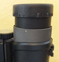 Diopter adjustment and pull-up eyecups on the Opticron Traveller 10x32 Binoculars