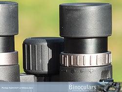 Eyecups, Focusing Wheel and Diopter adjustment ring on the Pentax 9x28 DCF LV binoculars