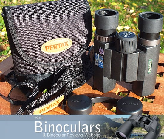 Pentax 9x28 DCF LV binoculars with carry case and neck strap