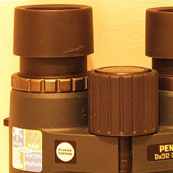 Focusing Wheel, Diopter adjustment and twist-up eyecups on the Pentax 9x32 DCF BC binoculars