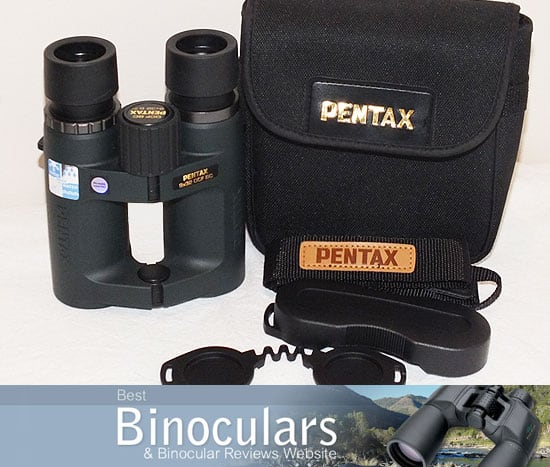 Pentax 9x32 DCF BC binoculars with carry case, neck strap and lens covers