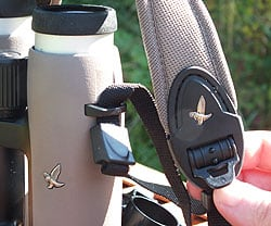 Neck strap adjustment on the Swarovski EL 8x32 W B Traveler binoculars