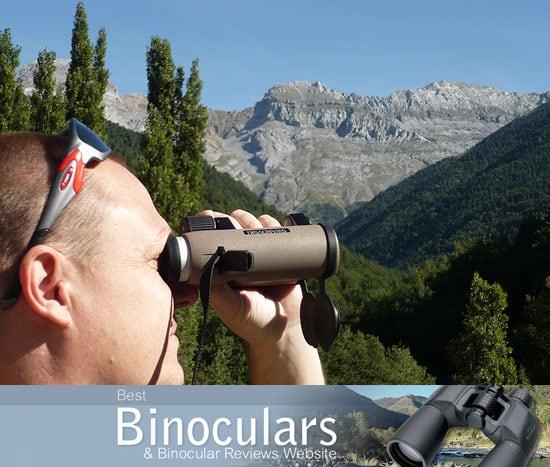 Me using the Swarovski EL 8x32 Traveler binoculars in the Spanish Pyrenees