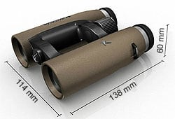 Dimensions of the Swarovski EL 8x32 Traveler Binoculars