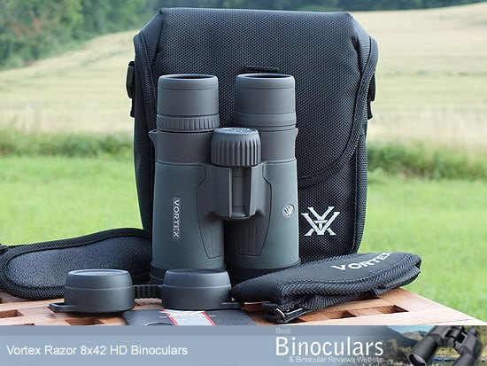 Vortex Razor HD 8x42 Binoculars with neck strap, carry case and Harness