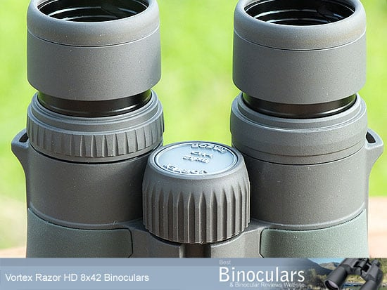 The focussing wheel on the Vortex Razor 8x42 HD Binoculars