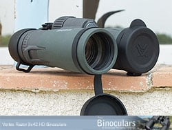 The objective lens covers on the Vortex Razor 8x42 HD Binoculars