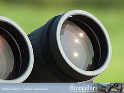 The deeply inset lenses on the Vortex Razor 8x42 HD Binoculars