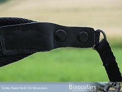 Looped neckstrap connector on the Vortex Razor HD binoculars