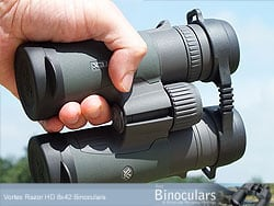 The True Open Hinge design on the Vortex Razor HD binoculars