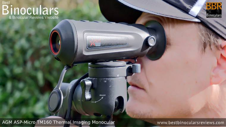 Looking through the AGM Asp-Micro TM160 Thermal Imaging Monocular mounted on a tripod