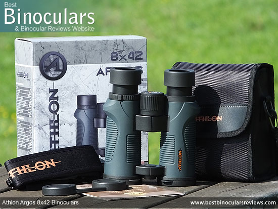 Carry Case, Neck Strap, Cleaning Cloth, Lens Covers & the Athlon Argos 8x42 Binoculars