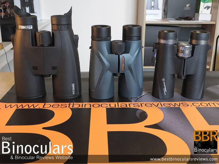 Size Comparison between the 56mm Steiner  15x56 HX, the Athlon Midas 12x50 and the 42mm Bresser Condor 10x42 Binoculars