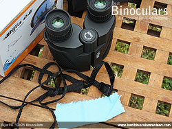 Neck strap and cleaning cloth for the Bijia 12x25 Binoculars