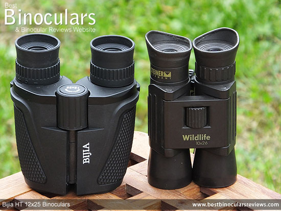 Bijia 12x25 roof prism Binoculars compared to double hinge roof prism Steiner binoculars