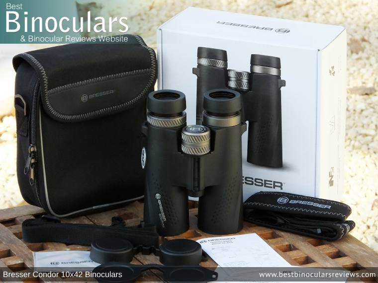 Carry Case, Neck Strap, Cleaning Cloth, Lens Covers & the Bresser Condor 10x42 Binoculars