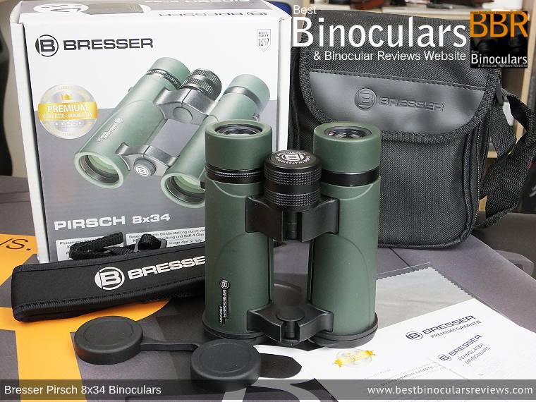 Bresser Pirsch 8x34 Binoculars and accessories plus packaging